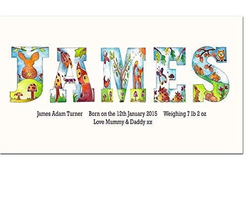 Nome tela tela, personalizzato, regalo per bambino, regalo per battesimo, Woodland lettere