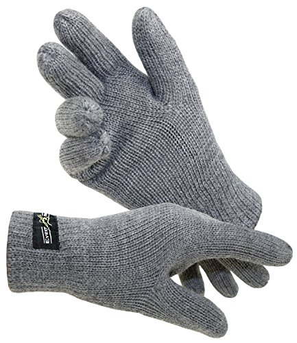 Licht Grau Wolle (EveryHead Herrenhandschuhe Thinsulate Fingerhandschuhe Strickhandschuhe Winterhandschuhe isoliert Fleecefutter für Männer (EH-57757-W17-HE0-83-XL) in Grau, Größe XL inkl. EveryHead-Hutfibel)