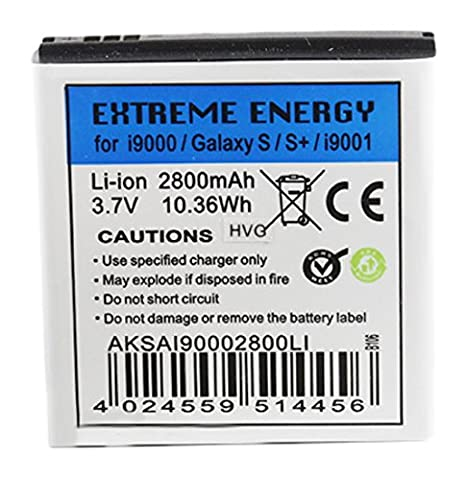 Extreme Energy Li-Ion 2800mAh extended kompatibel mit Samsung Galaxy S/S+/i9000/i9001 (AKSAGAI90002800LI)