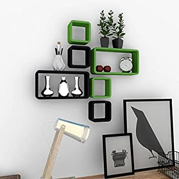 DecorNation 6 Piece Cube Rectangle Designer MDF Wall Shelf, Green and Black