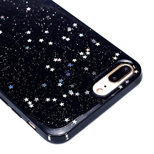 Custodia iPhone 7 Plus, Cover iPhone 8 Plus, Brillantini Cover Custodia in Silicone per iPhone 7 / 8 Plus Apple, Surakey Lussuoso Custodia con Ring Supporto e Tassel Morbida TPU Gomma Case Belle Diseg Stella Nero