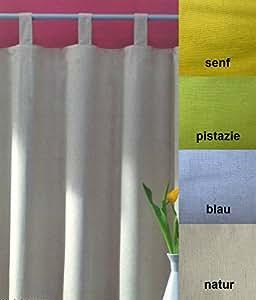gardine schlaufenschal blickdicht 100 natur baumwolle und leinen in senfgelb hxb 260x140. Black Bedroom Furniture Sets. Home Design Ideas