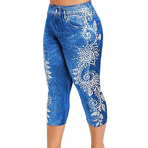 QIMANZI Leggings Damen Gedruckt Yoga Hosen Fitness Gamaschen Laufen Fitnessstudio Strecken Sport Hose Casual Jeans Pants(B Blau,4XL)