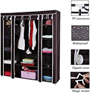 Fabric Wardrobe Cloth Cabinet Closet Clothing Storage Organizer with Dustproof Cover Portable for Bedroom Livi