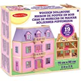 Melissa & Doug Multi-Level Wooden Doll's House With 19 pcs Furniture