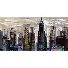 Artland Póster De Impresión o Lienzo–Cuadro de Imagen listo Madera Contrachapada en bastidor Silvia Vassi Leva–New yorl Momento Ciudades América York Pintura–Gris, lienzo o póster, gris, 75x150 cm / Leinwand