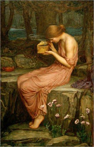 Poster 50 x 80 cm: Psyche öffnet die goldene Box von John William Waterhouse / akg-images - hochwertiger Kunstdruck, neues Kunstposter