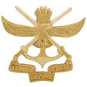 Autofy BRASS0017 Brass Army Cross Sword and Indian Emblem Service Before  Self Decal Badge for All Bikes (Gold)