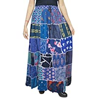 Women Maxi Skirt Vintage Blue Patchwork Rayon A- Line Skirts S/M