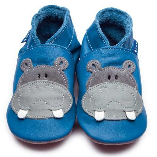 Inch Blue Krabbelschuhe Hippo Blue/Grey, Large