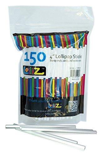 LolliZ Bâtons de sucettes ou à CakePop, 10 cm. 150 pièces arrangées dans un sac refermable. Aptes au contact avec aliments