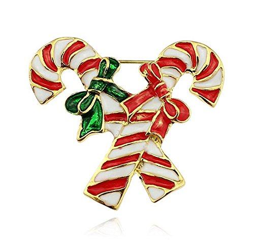 Mackur Fashion Christmas Candy Cane Brosche Strass Verdeckt Schals Schal Clip für Frauen Damen Mädchen 1Stück