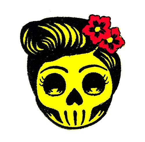 Flower Sugar Skull (grau) Tag der Toten Lady Rider Rider Motorrad Patch Hand bestickt und Bügelbild Symbol Jacke T-Shirt patches aufnäher Zubehör (Tote Flower Patch)