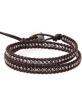 KELITCH Leder Armband Grau Hämatit Perlen anschetten Armbänder