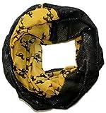 My Horse Glamour Loop Schal - Pferde Muster Glanz Schlauchschal (schwarz gelb)