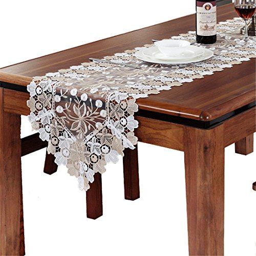 taixiuhome Gold Weiß Hollow Lace Floral bestickt transluzent Gaze Home Tischläufer Tisch Flaggen für Party Hochzeit Dekoration, Spitze, gold, 15.7 x 70.8 inches(40 x 180cm) -