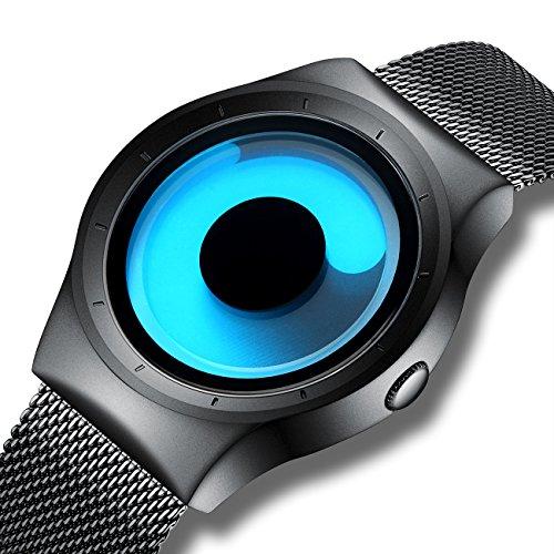 Relojes de Diseño Simple para Hombre Reloj de Pulsera de Malla Reloje
