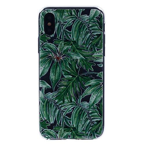 iPhone X Hülle, Voguecase Silikon Schutzhülle / Case / Cover / Hülle / TPU Gel Skin für Apple iPhone X(Specht) + Gratis Universal Eingabestift Grüne Blätter 04