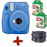 Allcam Bundle: Fuji Mini 9 Cobalt Blue Instant Film Camera + Case + 40 Shots (Take instant credit card size photos. Capture the moment and share the fun).
