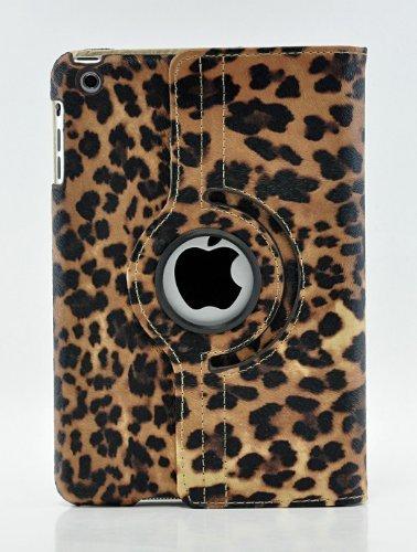 LiViTech iPad Mini 4Fall, (TM) Leopard Design Series 360Grad Drehbar PU Leder Schutzhülle für Apple iPad Mini 4, Braun