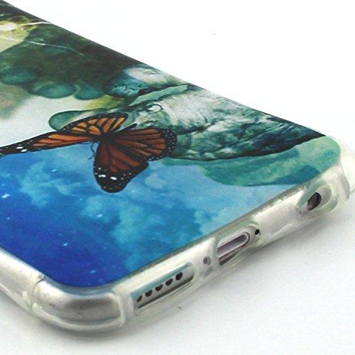 Etsue pour Apple iPhone 6 Plus/iPhone 6S Plus 5.5 Case Cover,Ultra-minces Rim est transparent Frais Doux TPU Coque Housse pour Apple iPhone 6 Plus/iPhone 6S Plus 5.5,Colorful Soft Silicone Case Etui s papillon