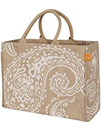 White Paisley , Market Tote : KAF Home Jute Market Tote Bag With White Paisley Print, Durable Handle, Reinforced...