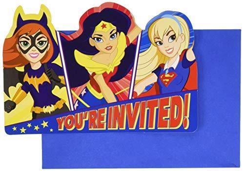 Amscan International 491609DC Super Hero Mädchen Einladung mit Umschlag