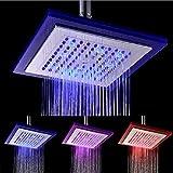 GLHLPR 8 Zoll Luxus LED Einbau-Duschkopf Regendusche Deckenbrause Quadrat Überkopfbrause superflach Farbewelchseln nach Temperatur