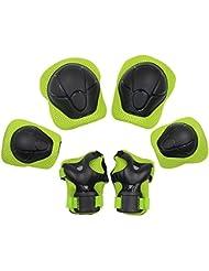 Yakamoz Équipement de Protection des Sports Protège-paume Coudière Genouillère de Skateboard Pad de Sécurité sauvegarde (Genou Coude Poignet) Support Pad Equipement Pour les Enfants de la Bicyclette Rouleau de Vélo BMX Vélo Skateboard Protecteur Pads Gardes (6 Pcs vert)
