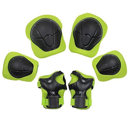 Yakamoz Schutzausrüstung der Sports protège-paume Ellenbogenbandage Kniebandage Skateboard-Pad-Sicherheit Backup (Knie Ellenbogen Handgelenk) Support Pad Ausrüstung für die Kinder der Fahrrad Rolle-Fahrrad BMX Fahrrad Skateboard inkl. Pads Wachen (6PCS grün), A (Wachen Für Schlittschuhe)