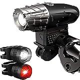 Patomos LED Fahrradbeleuchtung, Fahrradlichter USB Wiederaufladbare Frontlicht und Rücklicht Set, IPX65 Wasserdichte Fahrradlampe Set, 300Lumen 4/6 Licht-Modi Licht für Fahrrad