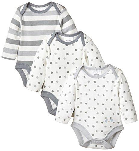 Twins Unisex Baby - Langarm-Body im 3er Pack, Mehrfarbig, Gr. 62, grau (hellgrau)