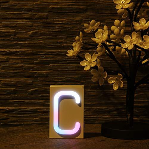LED-Leuchtreklame, 40 Alphabet von A - Z Leuchtreklame für DIY, Weihnachtsnachtlichter mit Multi-Farbwechsel und USB/Batteriebetrieb - Weiß von A - Z -