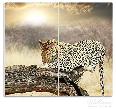 Wallario Herdabdeckplatte / Spritzschutz aus Glas, 2-teilig, 60x52cm, für Ceran- und Induktionsherde, Leopard auf Baumstamm in Afrika