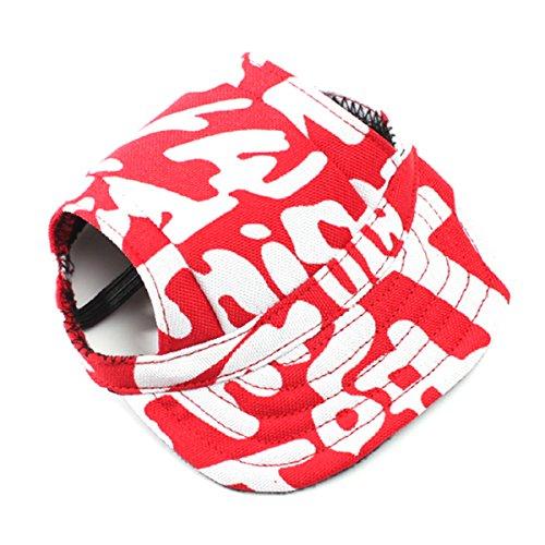 UEETEK Perro de animal doméstico Oxford tela Sombrero Gorra de béisbol deportes con agujeros de oreja para perros pequeños - tamaño S (rojo + blanco)