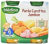 Blédina Petits Pots Purée Carottes jJambon dès 6 mois 2 x 200 g - Pack de 6