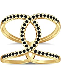 Silvernshine Halo Twist Black Cubic Zirconia Engagement Ring 14k Yellow Gold Plated Bridal Ring