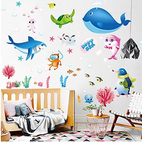 Tiefsee Kreaturen Cartoon Ozean Fisch Wandaufkleber, Kinderzimmer Klassenzimmer Schlafzimmer Wohnzimmer Dekoration Abnehmbare Aufkleber Aufkleber