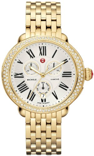 MICHELE WOMEN'S GOLD TONE STEEL BRACELET & CASE QUARTZ WATCH MWW21A000011
