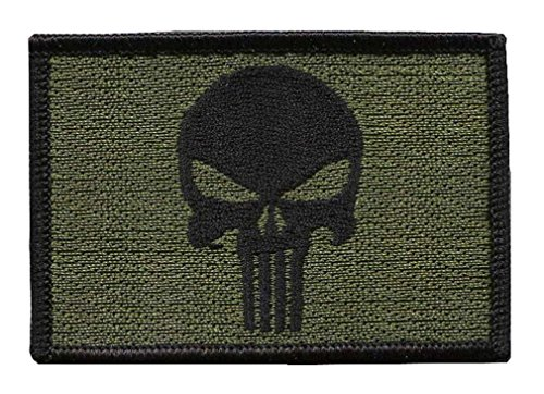 Punisher Skull Olive Green Tactical Military Morale Patch Iron On Parche Bordado Termoadhesivo