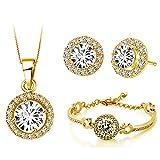Klaritta Parure Orecchini a Lobo e Collana in Oro Giallo, Diamante Bianco, Bracciale S673