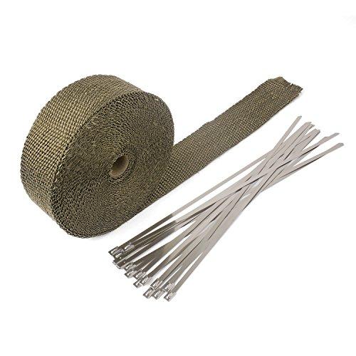 YAOBLUESEA 15M Hitzeschutzband Basaltfaser Auspuffband mit 15 Kabelbinder für Fächerkrümmer Thermoband Krümmerband