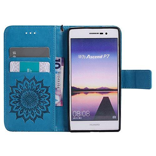 Für Huawei P7 Fall, Prägen Sonnenblume Magnetische Muster Premium Soft PU Leder Brieftasche Stand Case Cover mit Lanyard & Halter & Card Slots ( Color : Blue ) Blue