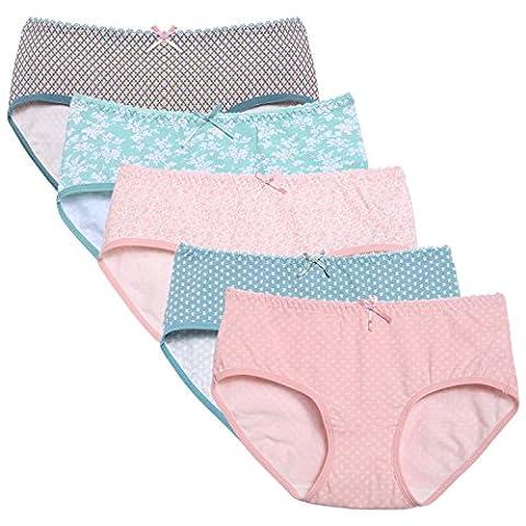 Zearo Lot de 5 Slips Culotte Taille élastiquée Coton Imprimé Coeur Fond doublé