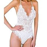 Lace siamesische Unterwäsche VENMO Frauen V-Ausschnitt Spitze Design Bodysuit Lace Pattern Unterwäsche (S, white)