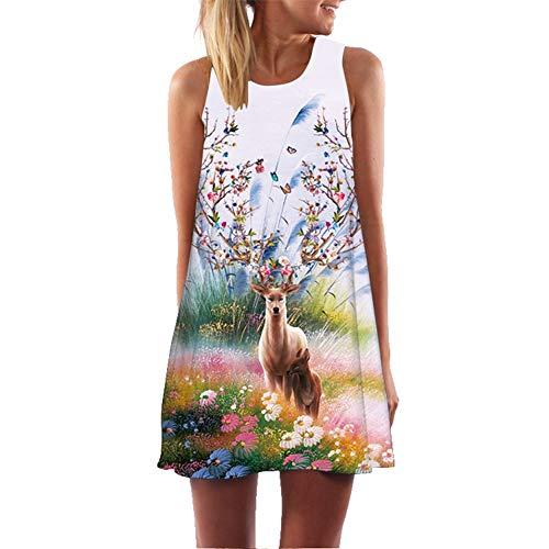 NGMZ Damen Strandkleid Animal Print Siamesisches Kleid Retro Sexy Sleeveless A Line Sommerkleidung Lässige Short Dress, X-Large Animal Print Tank Kleid