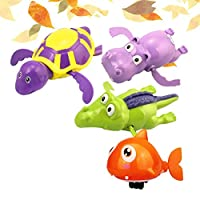 NUOBESTY 4Pcs Floating wind-up bath water toys turtle hippo crocodile clockwork play toy kid educational toys