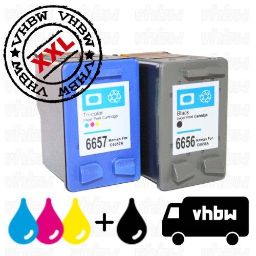 vhbw 2x kompatible Ersatz Tintenpatrone Druckerpatrone Set für Drucker HP Photosmart 7150, 7260, 7345, 7350, 7450, 7459, 7550, 7655, 7660, 7760