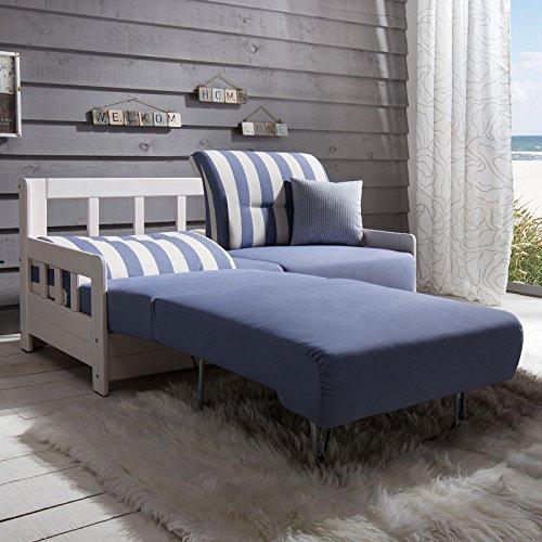 Schlafsofa Campuso Blau Weiß Stoff Sofa Couch Massiv Holz Schlafcouch Bettfunktion