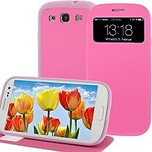 Funda con tapa para Samsung Galaxy S3 i9300 SIII pantalla-tapa de piel sintética con tapa de piel rosa